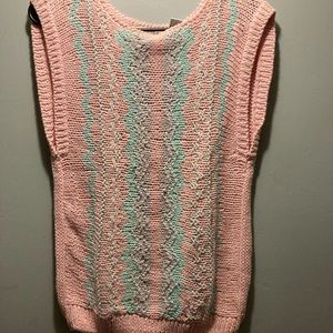 Vintage crochet knit tank top pullover size large